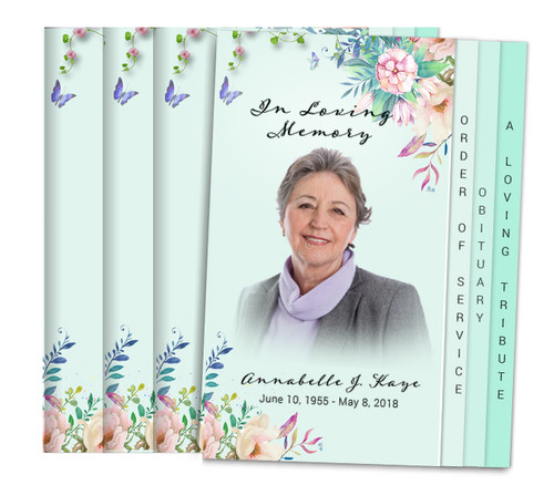 Floral Inspire 8-Sided Graduated Fold Funeral Program Design & Print