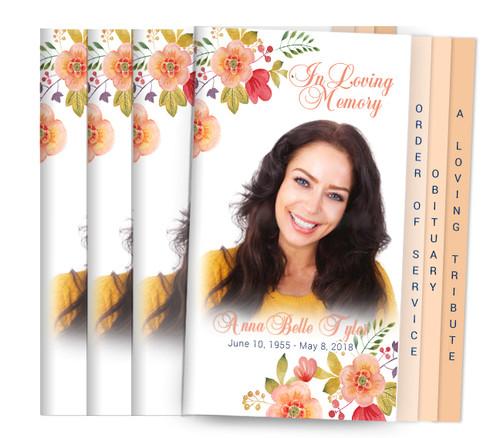 Tangerine 8-Sided Graduated Fold Funeral Program Design & Print