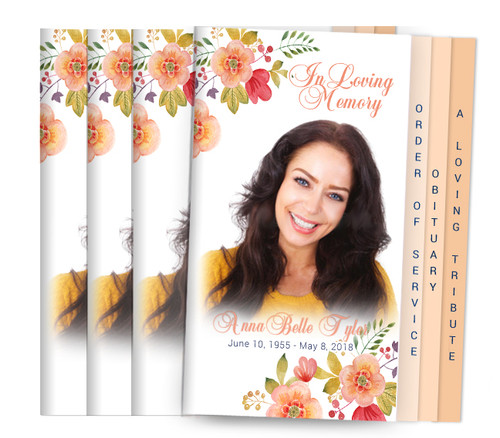 Tangerine 8-Sided Graduated Funeral Program Design & Print (Pack 25)