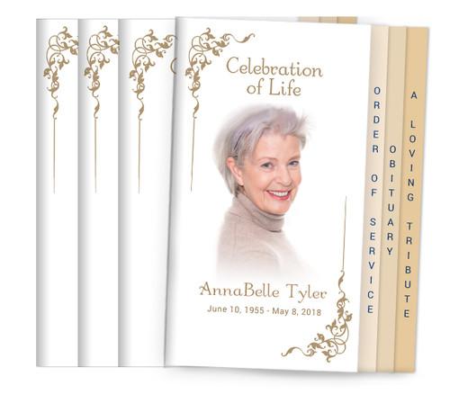 Platinum 8-Sided Graduated Funeral Program Design & Print (Pack 25)