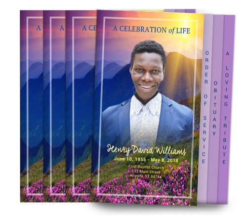 Mountaintop 8-Sided Graduated Funeral Program Design & Print (Pack 25)