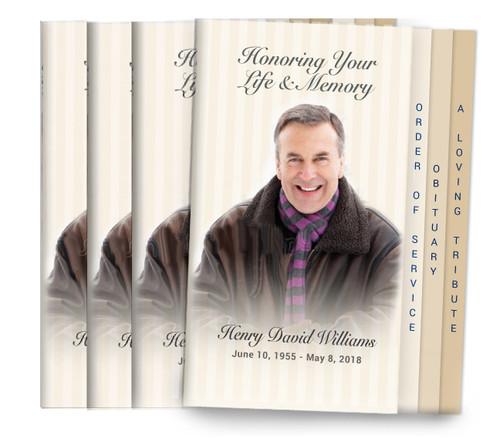 Stripes 8-Sided Graduated Funeral Program Design & Print (Pack of 25)