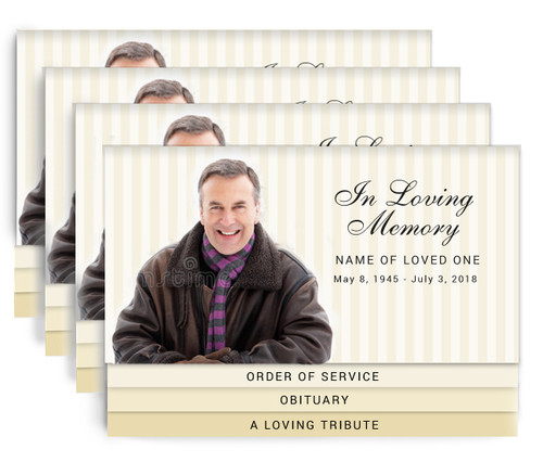 Stripes 8-Sided Graduated Bottom Fold Funeral Program Design & Print