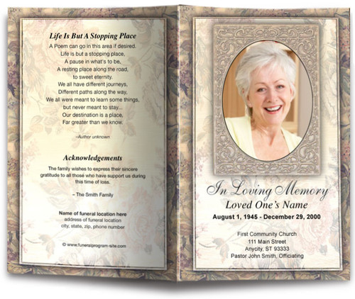 tapestry funeral program template