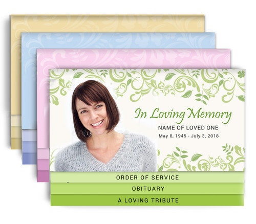 Garden Party 8-Sided Graduated Bottom Fold Funeral Program Design & Print
