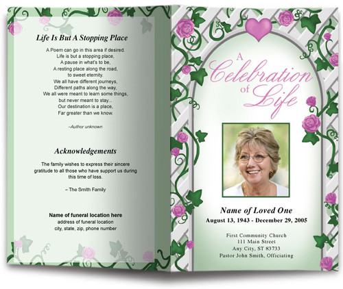 trellis funeral program template