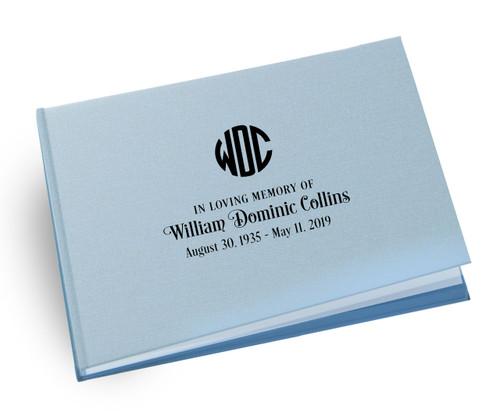 Monogram Linen Landscape Funeral Guest Book