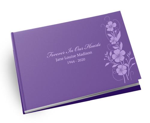 Sweet Flowers Landscape Linen Funeral Guest Book