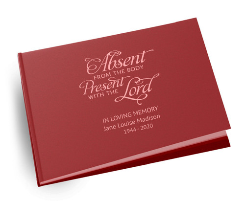 Absent From Body Landscape Linen Funeral Guest Book