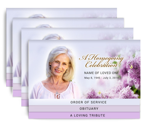 Rhododendron 8-Sided Graduated Bottom Fold Funeral Program Design & Print