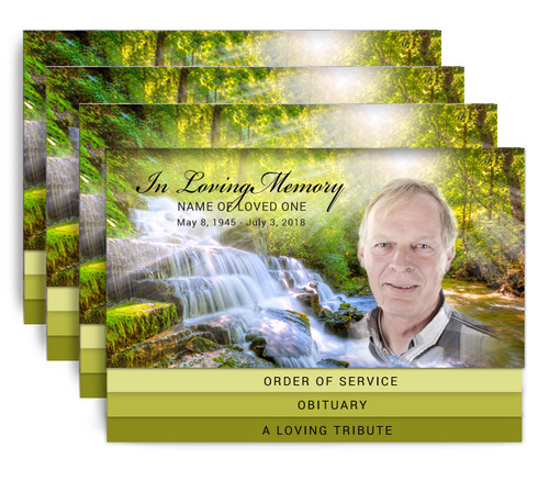 Waterfall 8-Sided Graduated Bottom Fold Funeral Program Design & Print