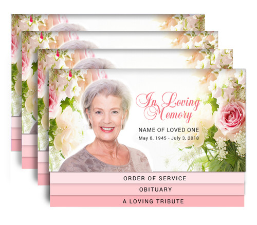 Roses 8-Sided Graduated Bottom Funeral Program Design & Print (Pack of 25)
