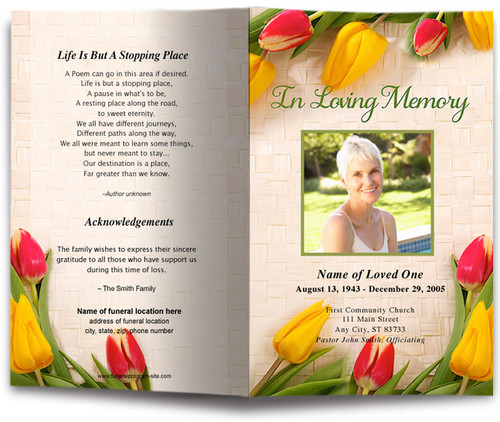tulips funeral program template