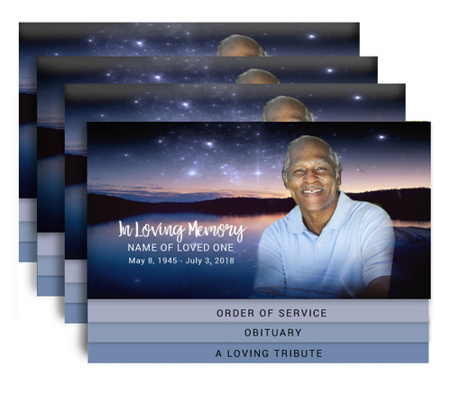 Starlight 8-Sided Graduated Bottom Funeral Program Design & Print (Pack of 25)