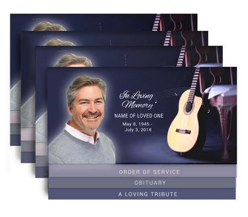 Guitar 8-Sided Graduated Bottom Funeral Program Design & Print (Pack of 25)