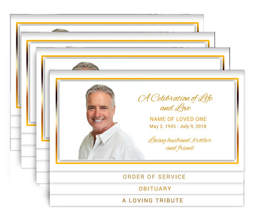 Gold 8-Sided Graduated Bottom Funeral Program Design & Print (Pack of 25)