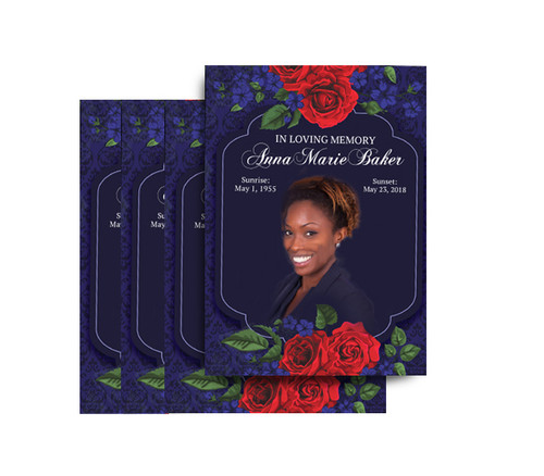 Red Roses No Fold Funeral Postcard Design & Print (Pack of 25)