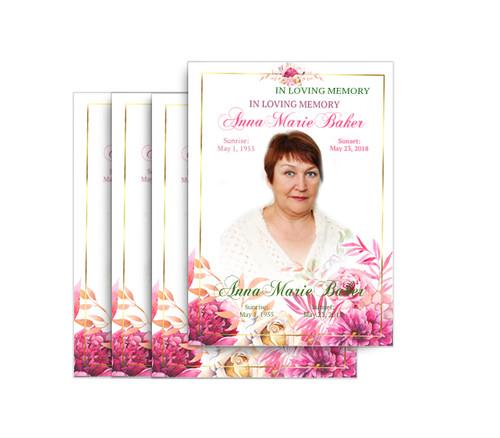 Pink Flowers No Fold Funeral Postcard Design & Print