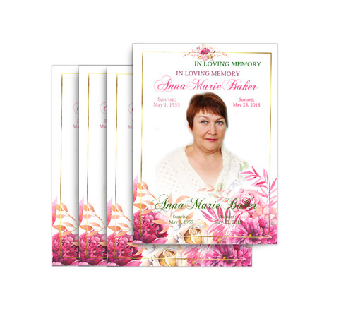 Pink Flowers No Fold Funeral Postcard Design & Print (Pack of 25)