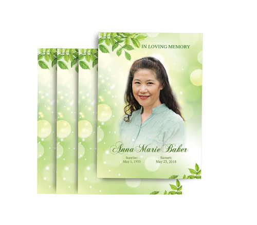 Twinkling Leaf No Fold Funeral Postcard Design & Print (Pack of 25)