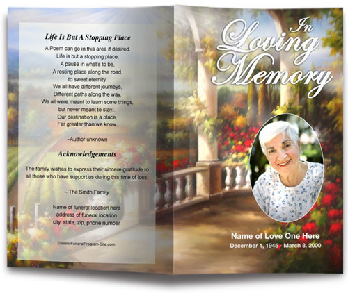 tuscany funeral program template