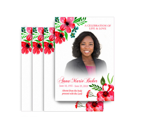Pink Blossoms No Fold Funeral Postcard Design & Print (Pack of 25)