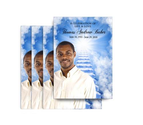 Heaven's Stairway No Fold Funeral Postcard Design & Print (Pack of 25)
