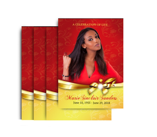 Ribbon Bow No Fold Funeral Postcard Design & Print