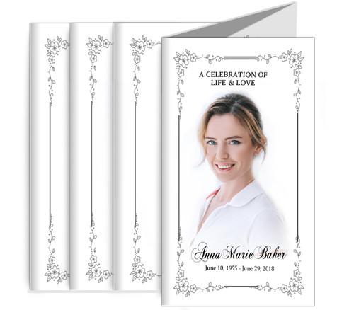 Flourish Frame Funeral Memorial Trifold Brochure Design & Print