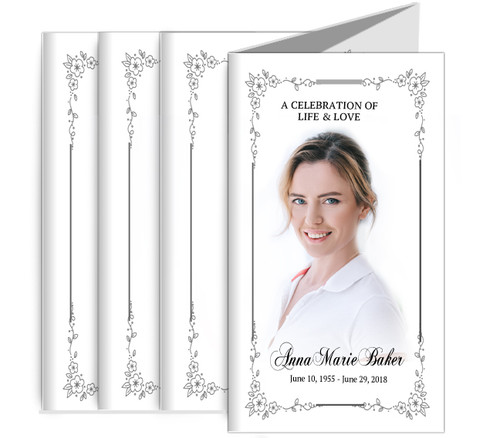 Flourish Frame Funeral Trifold Brochure Design & Print (Pack of 25)