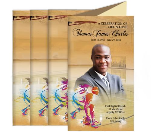 Basketball Funeral Trifold Brochure Design & Print (Pack f 25)