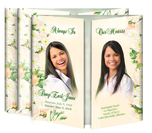 Flower Garden Gatefold Funeral Program Design & Print (Pack of 25)