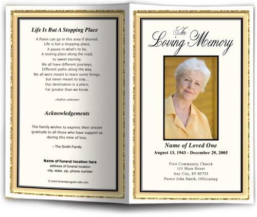 24K Funeral Program Template