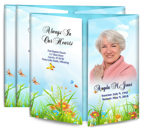 Peaceful Butterflies Gatefold Funeral Program Design & Print (Pack of 25)