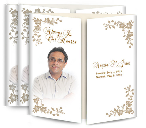 Floral Corners Gatefold Funeral Program Design & Print (Pack of 25)
