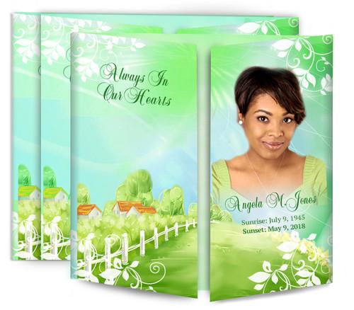 Country Cottage Gatefold Funeral Program Design & Print (Pack of 25)