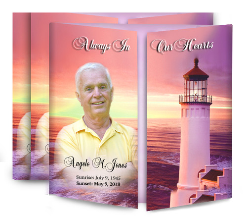 Lighthouse Sunset Gatefold Funeral Program Design & Print (Pack of 25)