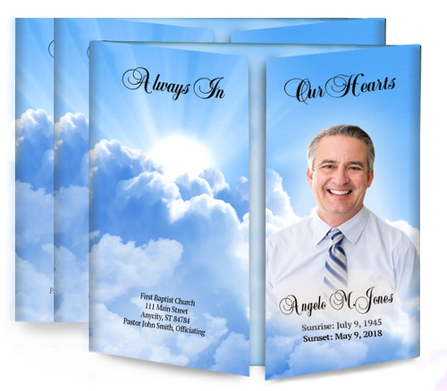 Sun Rays Gatefold Funeral Program Design & Print (Pack of 25)