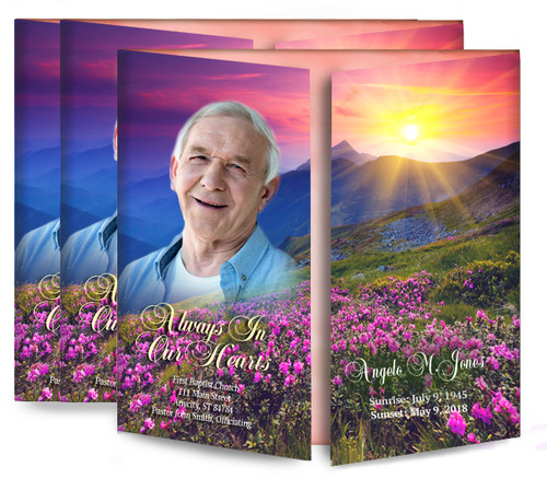 Mountain Blossoms Gatefold Funeral Program Design & Print