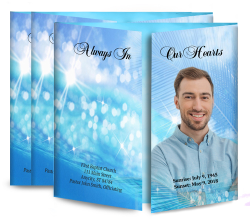 Sparkling Waters Gatefold Funeral Program Design & Print (Pack of 25)