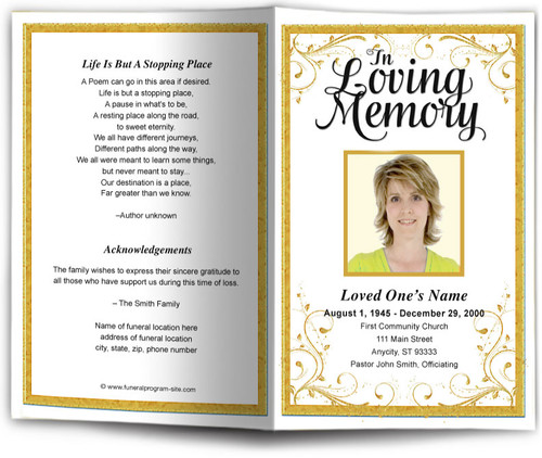 gold Affinity Funeral Program Template