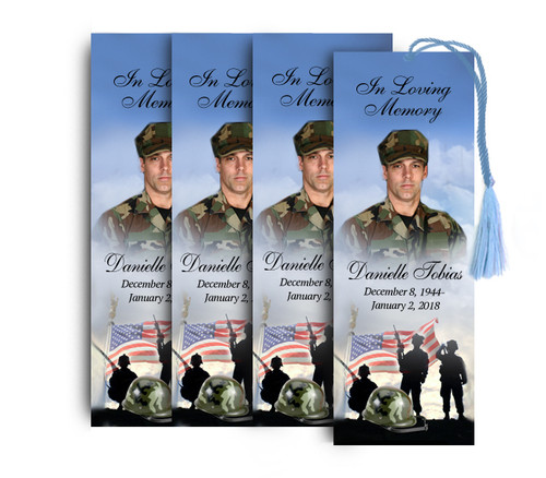 Army Memorial Funeral Bookmark Design & Print