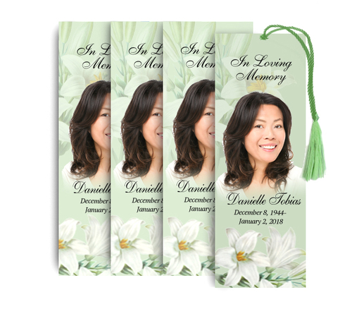 White Lilies Memorial Funeral Bookmark Design & Print (Pack of 25)