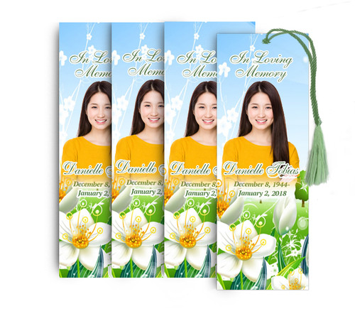 White Blossom Memorial Funeral Bookmark Design & Print (Pack of 25)
