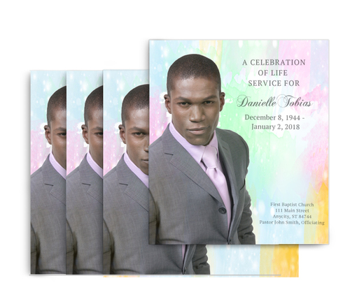 Watercolors No Fold Memorial Card Design & Print (pack of 25)