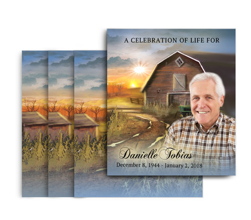 Barn No Fold Memorial Card Design & Print (Pack of 25)