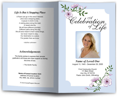 blue Allison Funeral Program Template