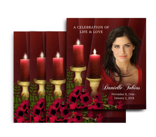 Candlelight No Fold Memorial Card Design & Print (Pack of 25)