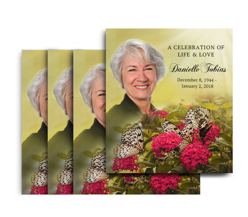 Bouquet No Fold Memorial Card Design & Print (Pack of 25)