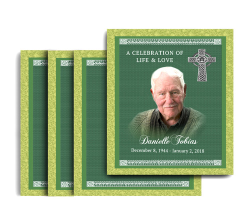Celtic No Fold Memorial Card Design & Print (Pack of 25)